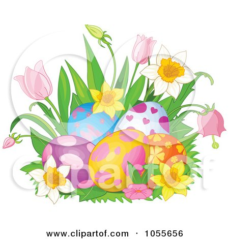 Royalty-Free Vetor Clip Art Illustration of Daffodils And Tulips Around Easter Eggs by Pushkin