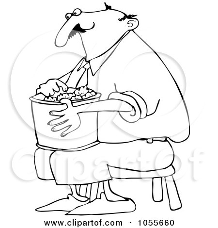 Coloring Page Outline Of A Man Sitting On A Stool And Eating Popcorn Posters, Art Prints