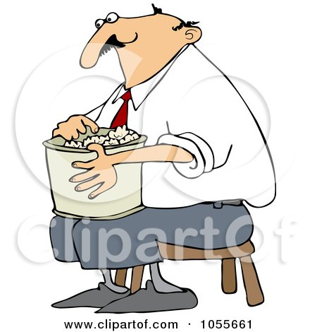 Man Sitting On A Stool And Eating Popcorn Posters, Art Prints