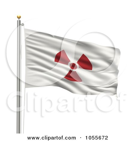 Royalty-Free CGI Clip Art Illustration of a 3d Rippling Radioactive Japan Flag by stockillustrations