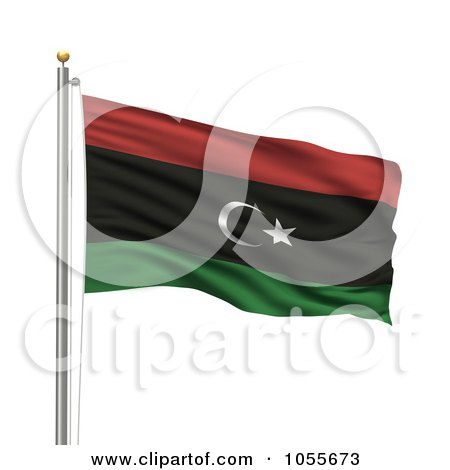 Royalty-Free CGI Clip Art Illustration of a 3d Rippling Libya Kingdom Flag by stockillustrations