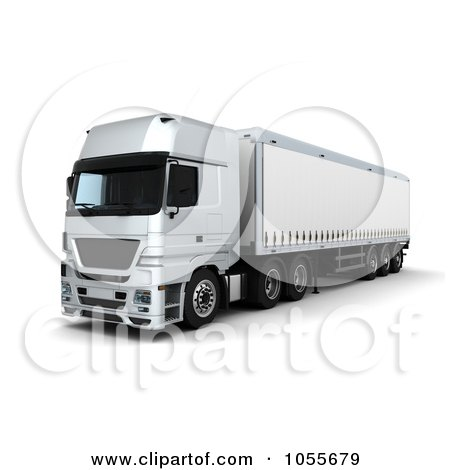 Royalty-Free CGI Clip Art Illustration of a 3d Front Side View Of A Curtainside Euro Truck by KJ Pargeter