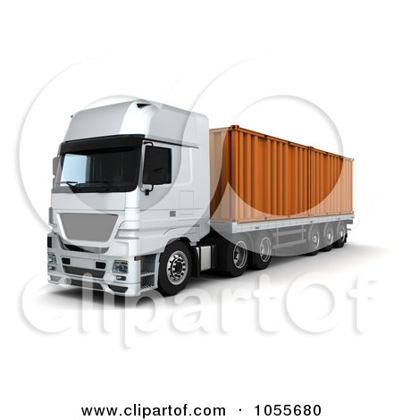 Royalty-Free CGI Clip Art Illustration of a 3d Frontal View Of A Big Rig With A Container by KJ Pargeter