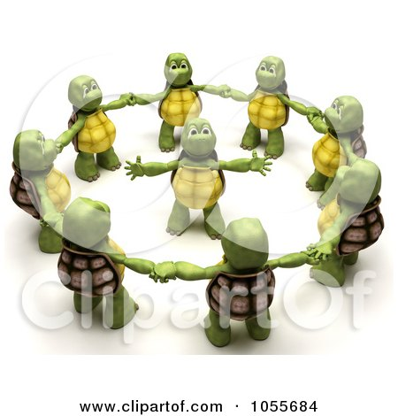 Royalty-Free CGI Clip Art Illustration of a 3d Tortoise In The Center Of A Circle Of Others by KJ Pargeter