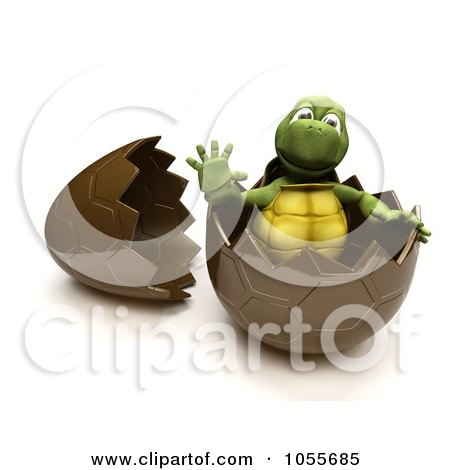 Royalty-Free CGI Clip Art Illustration of a 3d Tortoise Waving In A Chocolate Easter Egg by KJ Pargeter