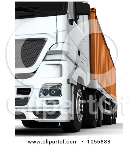 Royalty-Free CGI Clip Art Illustration of a 3d Low Frontal View Of A Big Rig With A Container by KJ Pargeter