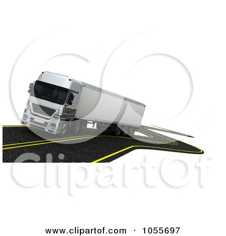 Royalty-Free CGI Clip Art Illustration of a 3d Big Rig Driving On A Windy Road by KJ Pargeter