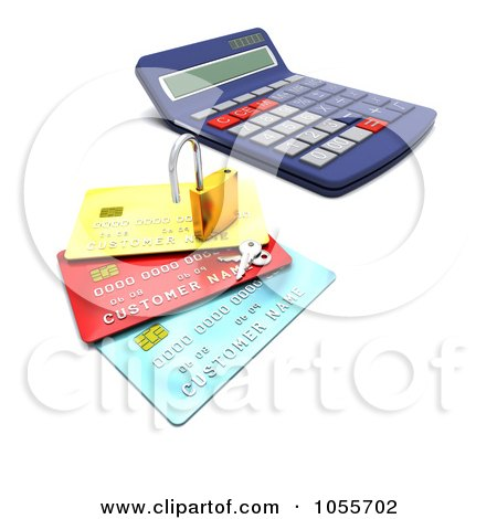 Royalty-Free CGI Clip Art Illustration of a 3d Padlock With Keys On Credit Cards By A Calculator by KJ Pargeter