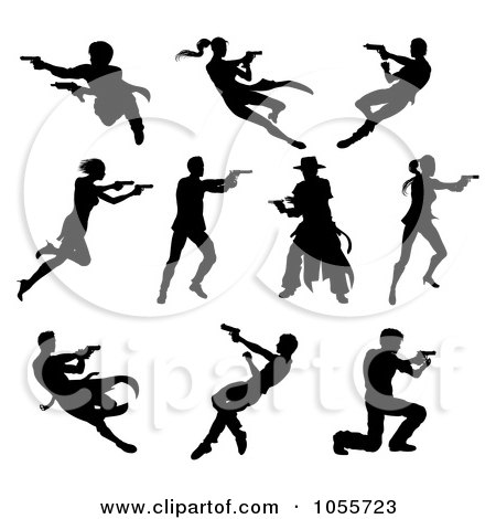 Royalty-Free Vector Clip Art Illustration of a Digital Collage Of Black Silhouetted Men And Women Shooting by AtStockIllustration