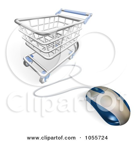 Royalty-Free Vector Clip Art Illustration of a Computer Mouse Wired To A Shopping Cart by AtStockIllustration