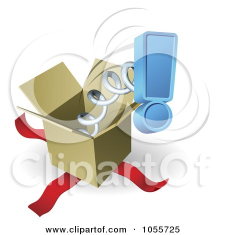 Royalty-Free Vector Clip Art Illustration of a Blue Exclamation Point Springing Out Of A Box by AtStockIllustration
