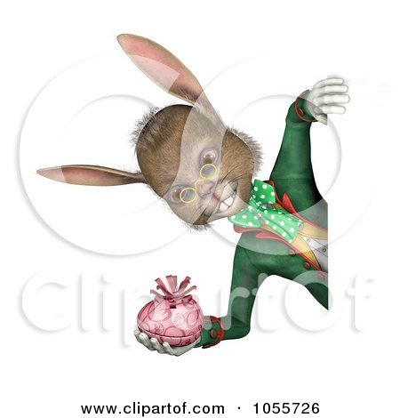 Royalty-Free CGI Clip Art Illustration of a 3d Easter Rabbit Holding An Egg And Looking Around A Blank Sign, Over White by Michael Schmeling