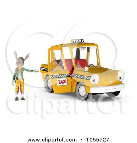 Royalty-Free CGI Clip Art Illustration of a 3d Rabbit Standing By An Open Taxi Door by Michael Schmeling