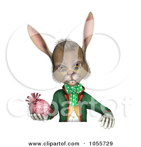 Royalty-Free CGI Clip Art Illustration of a 3d Easter Rabbit Holding An Egg And Looking Over A Blank Sign, Over White by Michael Schmeling