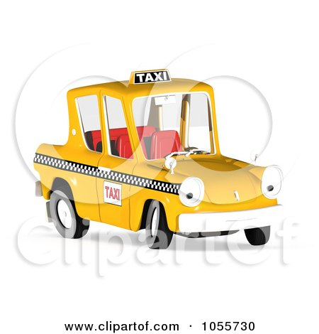 Royalty-Free CGI Clip Art Illustration of a 3d Orange Taxi Cab Character by Michael Schmeling