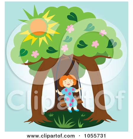 Royalty-Free Vector Clip Art Illustration of a Happy Girl Swinging Under Two Trees by Cherie Reve