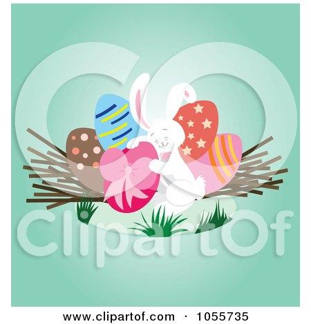 Royalty-Free Vector Clip Art Illustration of a White Easter Bunny Hugging An Easter Egg by Cherie Reve