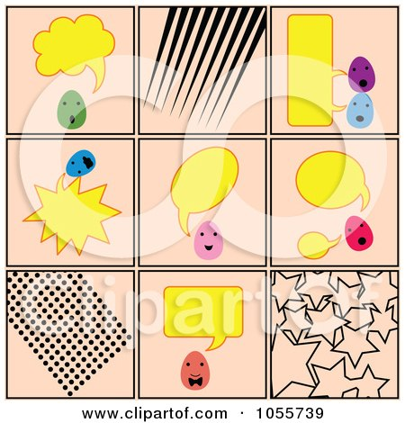 Royalty-Free Vector Clip Art Illustration of a Digital Collage Of Talking Eggs And Patterns On Pink by Cherie Reve