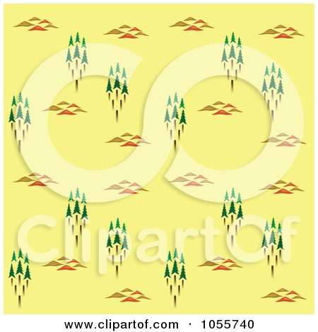 Royalty-Free Vector Clip Art Illustration of a Seamless Forest Background On Yellow by Cherie Reve