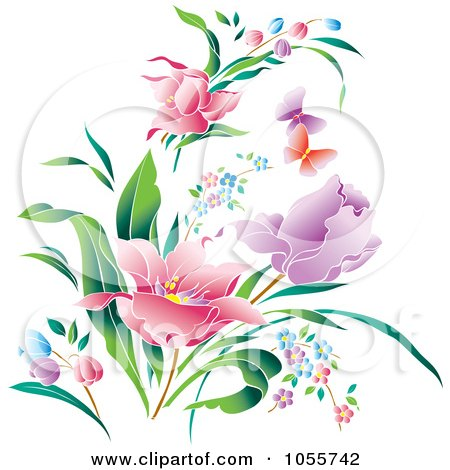 Royalty-Free Vector Clip Art Illustration of Beautiful Spring Flowers And Butterflies by pauloribau