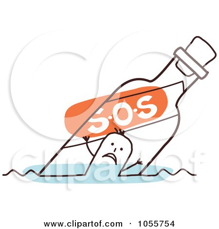 Royalty-Free Vector Clip Art Illustration of a Stick Man Floating In An SOS Bottle by NL shop