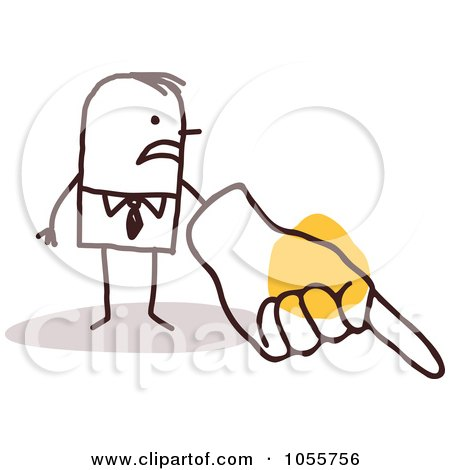 Royalty-Free Vector Clip Art Illustration of a Stick Man Scorning With A Big Hand by NL shop