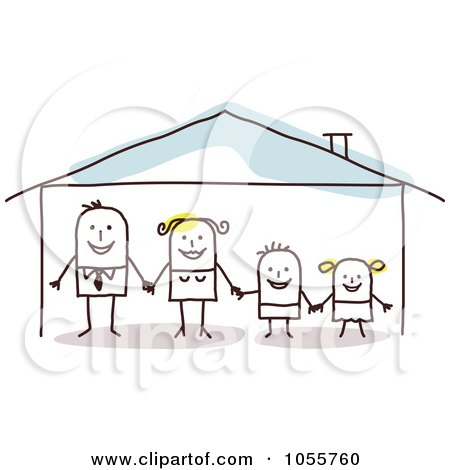 Royalty-Free Vector Clip Art Illustration of a Stick Man Family Holding Hands In A Home by NL shop