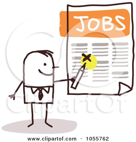Royalty-Free Vector Clip Art Illustration of a Stick Man Highlighting A Job by NL shop