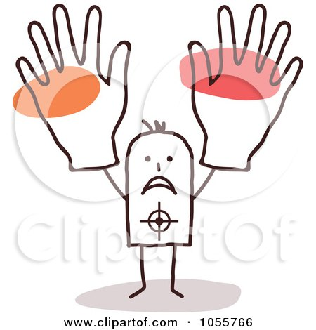 Royalty-Free Vector Clip Art Illustration of a Stick Man Target Holding Up Big Hands by NL shop