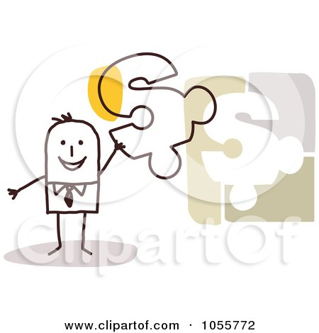 Royalty-Free Vector Clip Art Illustration of a Stick Man Holding A Dollar Symbol Puzzle Piece by NL shop
