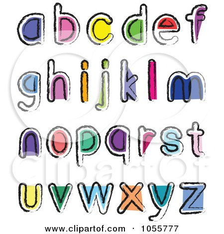 Royalty-Free Vector Clip Art Illustration of a Digital Collage Of Artistic Colorful Lowercase Letters by yayayoyo