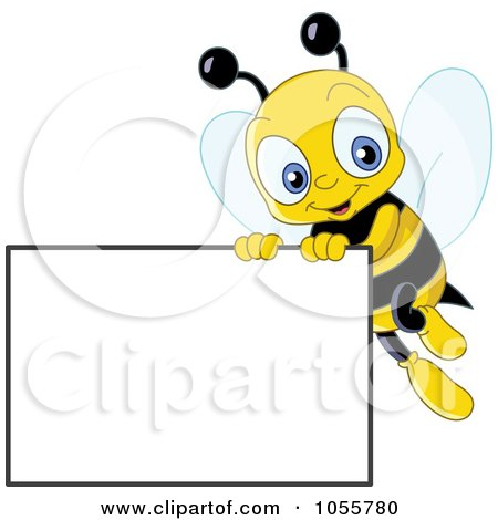 Royalty-Free Vector Clip Art Illustration of a Cute Bee Holding Up A Blank Sign by yayayoyo