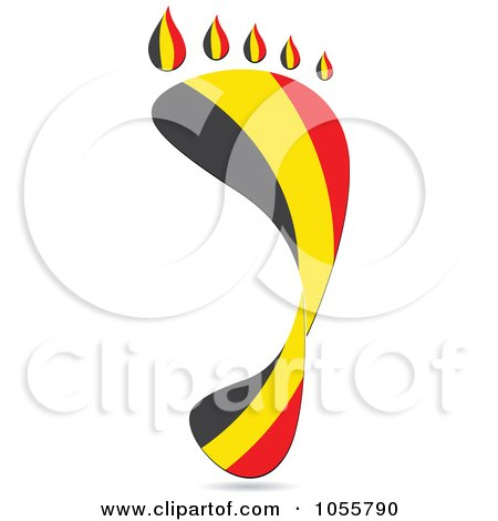 Royalty-Free Vector Clip Art Illustration of a Belgium Flag In The Shape Of A Footprint by Andrei Marincas