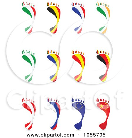 Royalty-Free Vector Clip Art Illustration of a Digital Collage Of National Flags In The Shape Of Footprints by Andrei Marincas