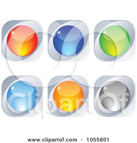 Royalty-Free Vector Clip Art Illustration of a Digital Collage Of Colorful And Silver Web Buttons by Andrei Marincas