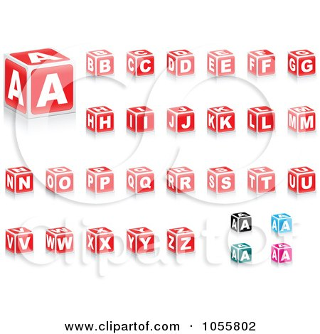 Royalty-Free Vector Clip Art Illustration of a Digital Collage Of Red Alphabet Blocks, A Few Other Colors In The Corner by Andrei Marincas