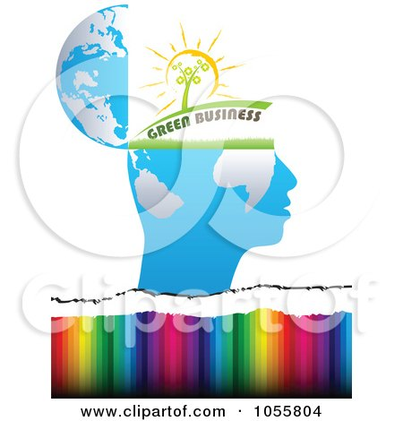 Royalty-Free Vector Clip Art Illustration of a Green Business Open Mind Over Colors by Andrei Marincas