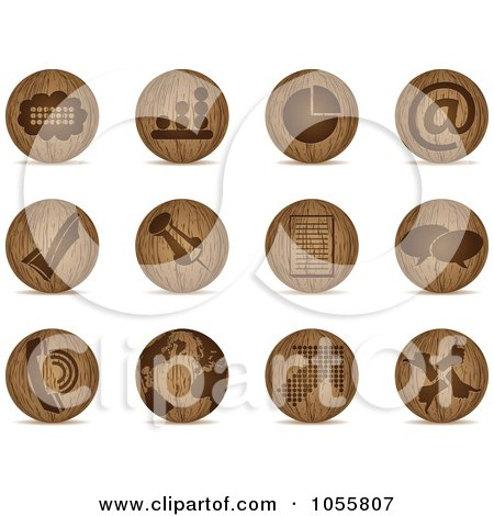 Royalty-Free Vector Clip Art Illustration of a Digital Collage Of Wooden Sphere Office Icons by Andrei Marincas