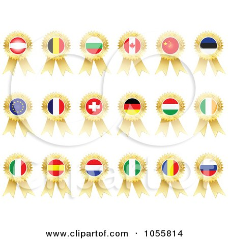 Royalty-Free Vector Clip Art Illustration of a Digital Collage Of Gold Flag Ribbon Medals by Andrei Marincas