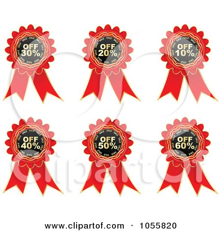 Royalty-Free Vector Clip Art Illustration of a Digital Collage Of Red Discount Ribbons by Andrei Marincas