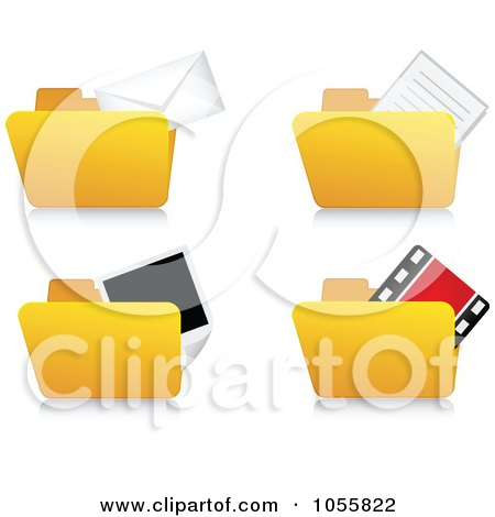 Royalty-Free Vector Clip Art Illustration of a Digital Collage Of Archive Folder Icons by Andrei Marincas