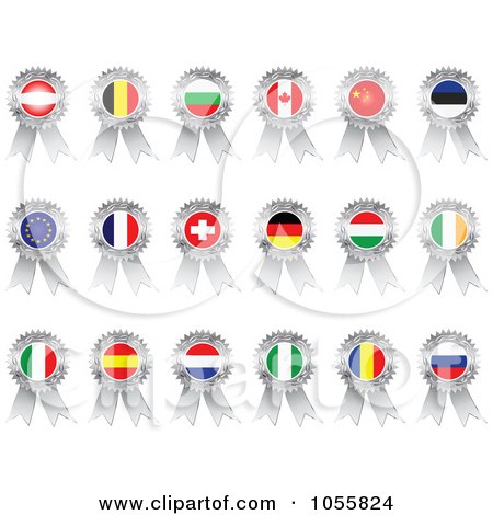 Royalty-Free Vector Clip Art Illustration of a Digital Collage Of Silver Flag Ribbon Medals by Andrei Marincas