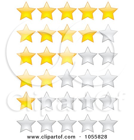 Royalty-Free Vector Clip Art Illustration of a Digital Collage Of Gold And Silver Rating Stars by Andrei Marincas