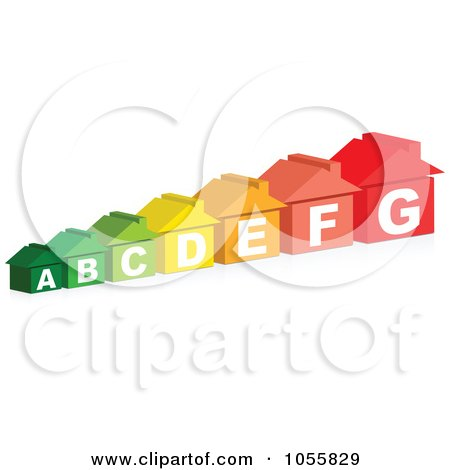 Royalty-Free Vector Clip Art Illustration of a Row Of Colorful Energy Rating Houses by Andrei Marincas