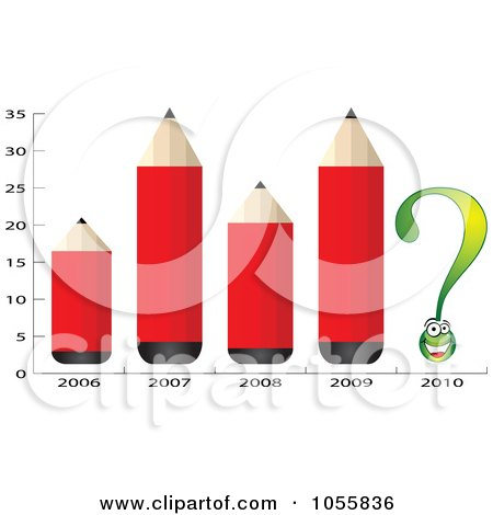 Royalty-Free Vector Clip Art Illustration of a Chart Of Red Pencils And A Question Mark by Andrei Marincas