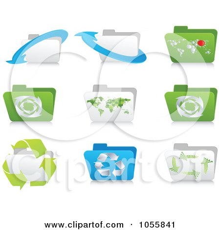 Royalty-Free Vector Clip Art Illustration of a Digital Collage Of Ecology Folder Icons by Andrei Marincas
