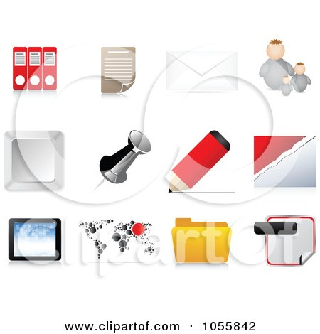 Royalty-Free Vector Clip Art Illustration of a Digital Collage Of Office Web Icons by Andrei Marincas