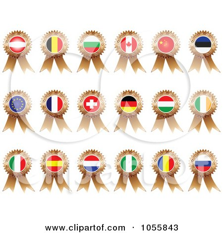 Royalty-Free Vector Clip Art Illustration of a Digital Collage Of Bronze Flag Ribbon Medals by Andrei Marincas