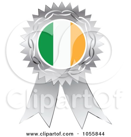 Royalty-Free Vector Clip Art Illustration of a Silver Ribbon Irish Flag Medal by Andrei Marincas