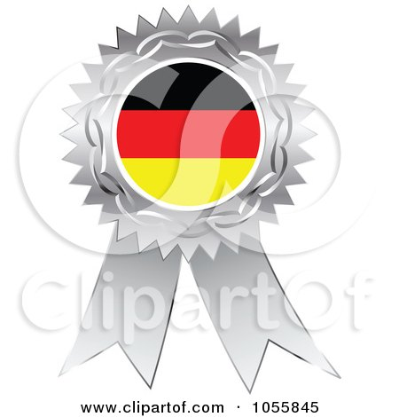 Royalty-Free Vector Clip Art Illustration of a Silver Ribbon German Flag Medal by Andrei Marincas